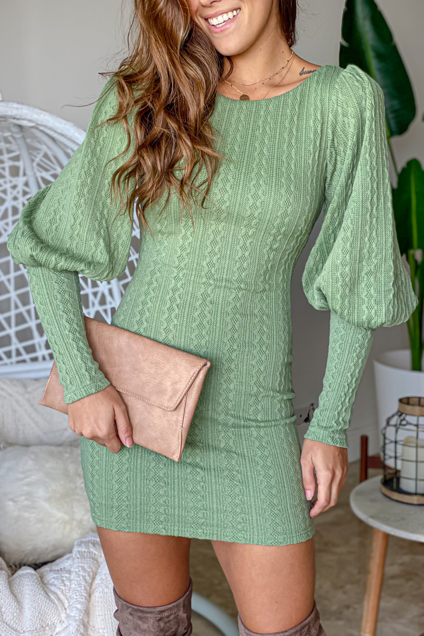 sage short dress with puff sleeve