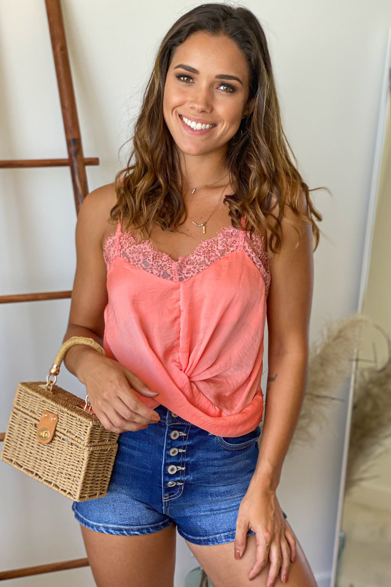 salmon cute top