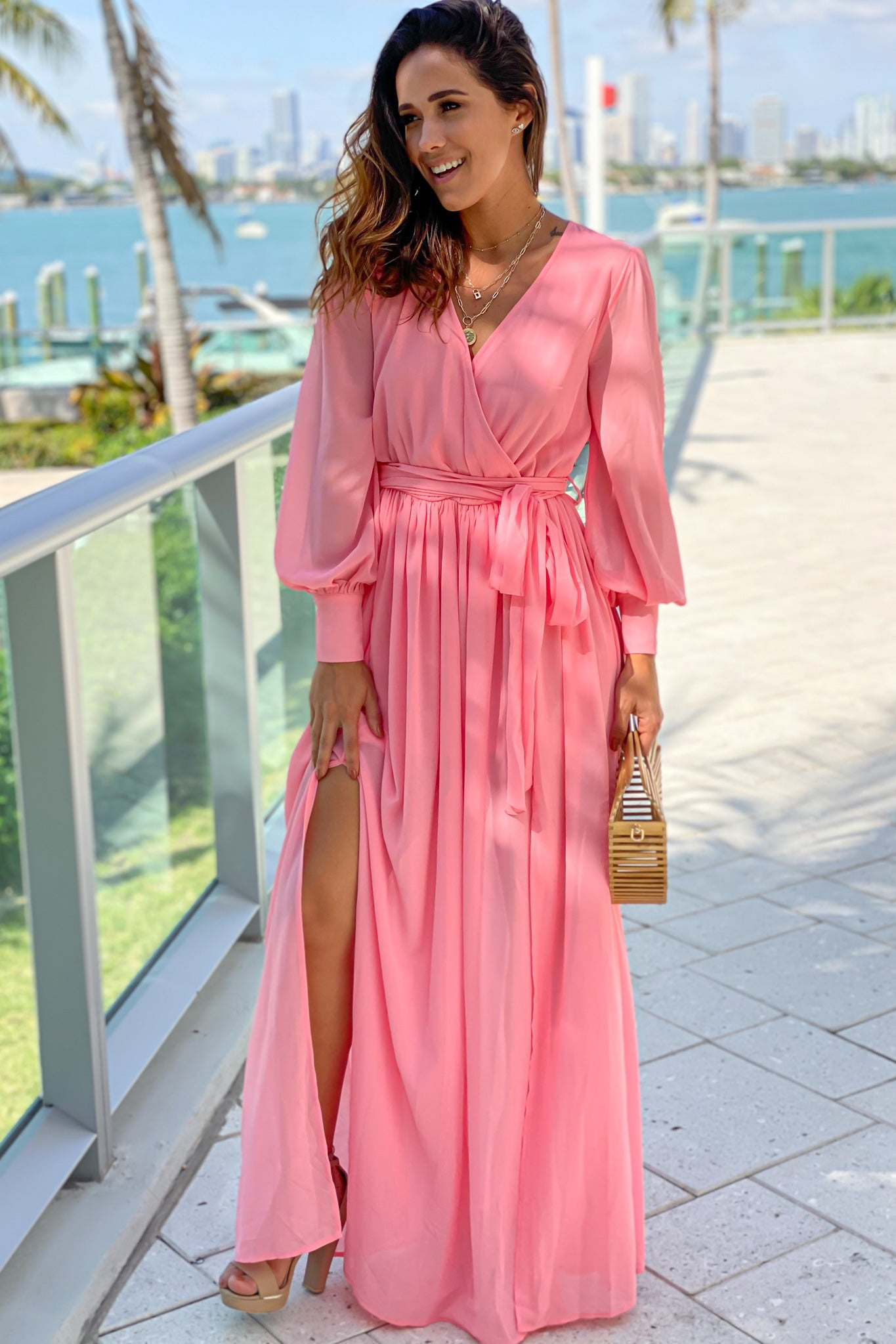 salmon formal maxi dress