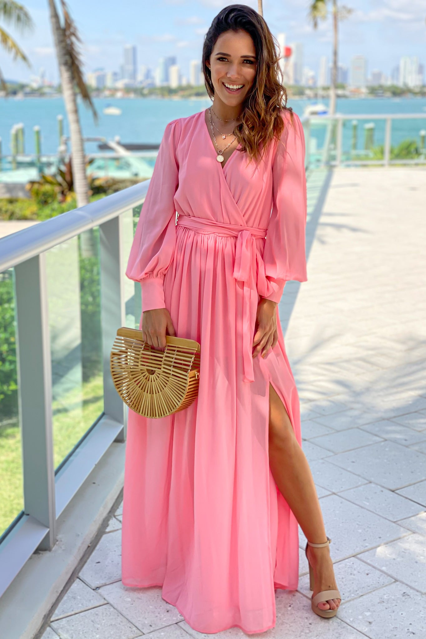salmon maxi dress with long sleeves and slit