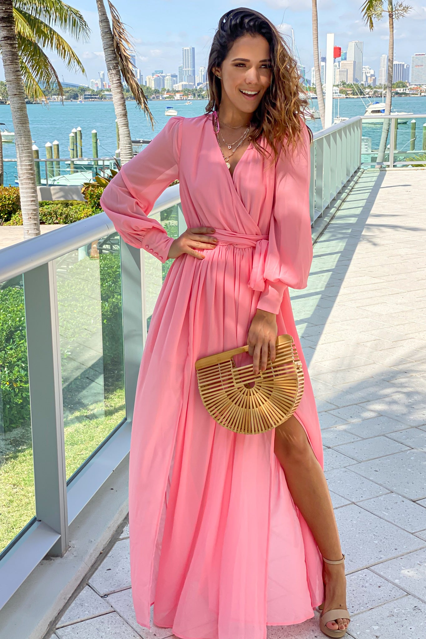 salmon maxi dress with long sleeves