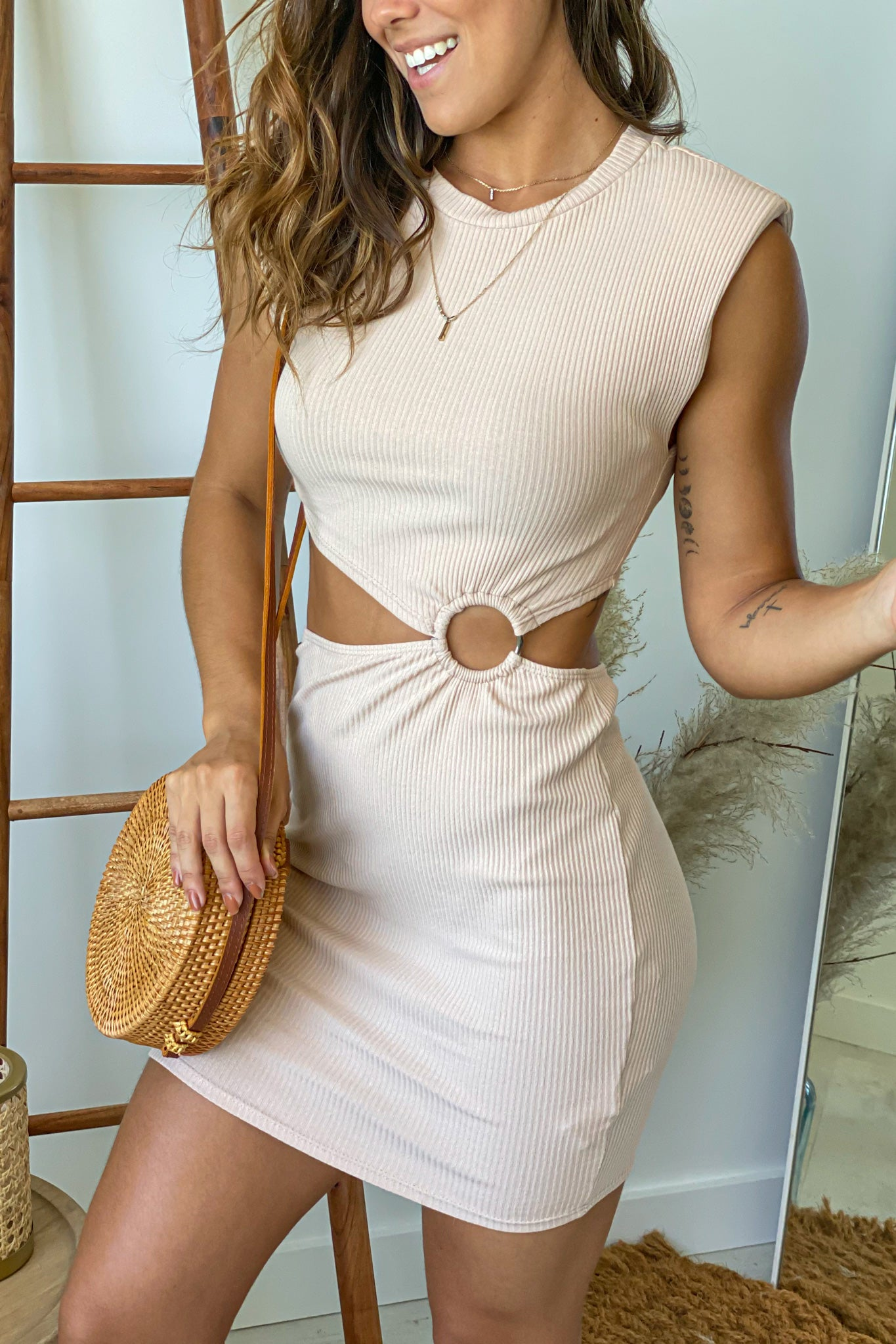 sand ribbed sleeveless short dress with shoulder pads