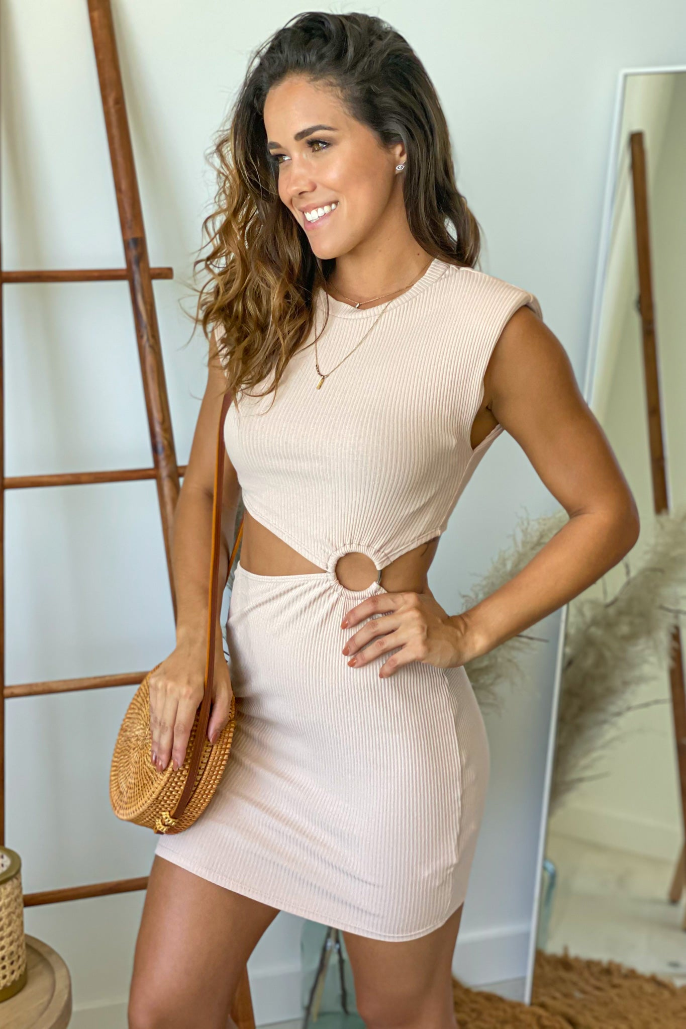 sand short dress with cutout