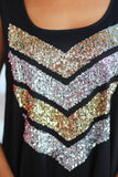 black top with sequined chevrons