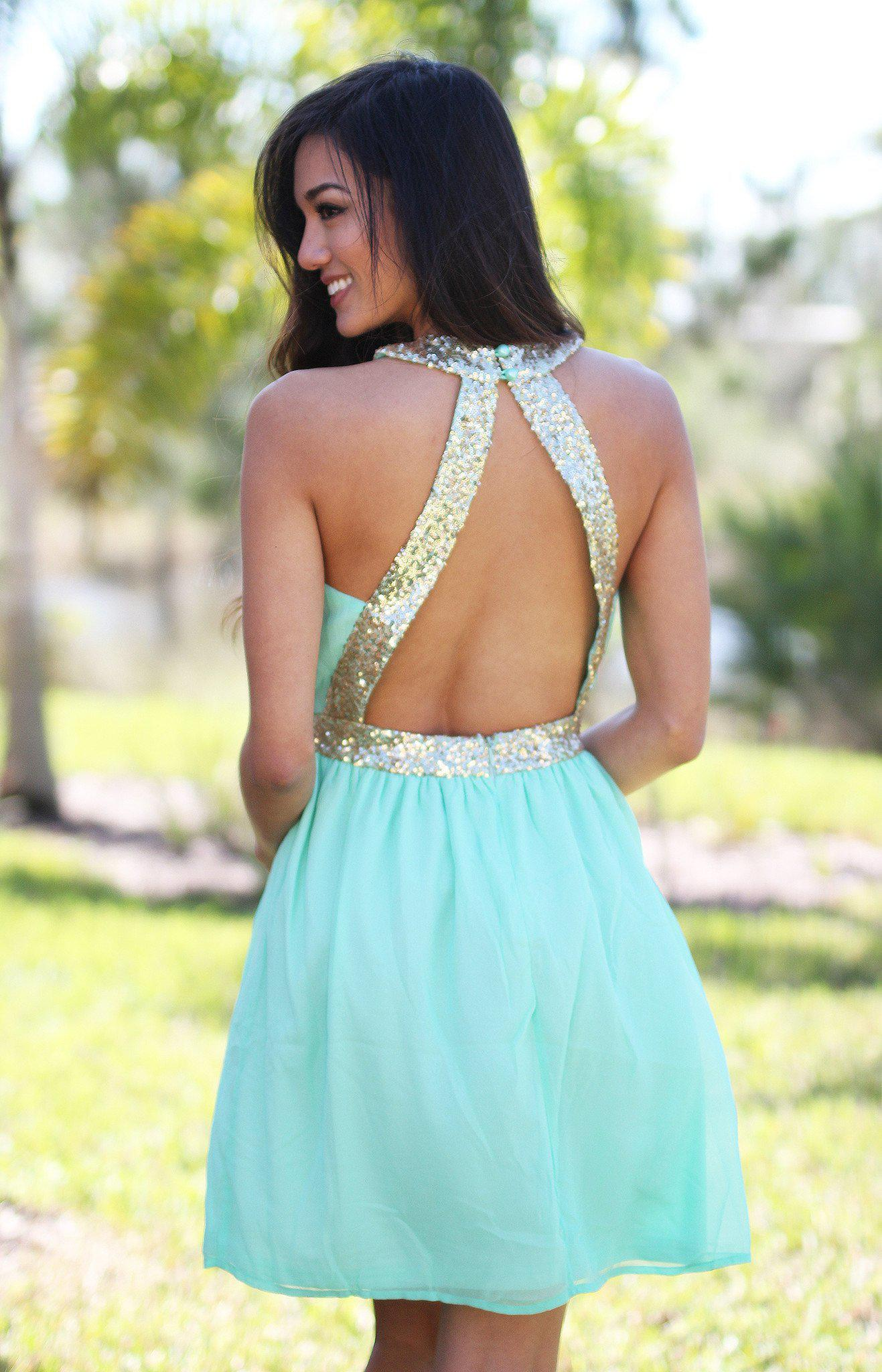 Mint and Gold Sequin Dress