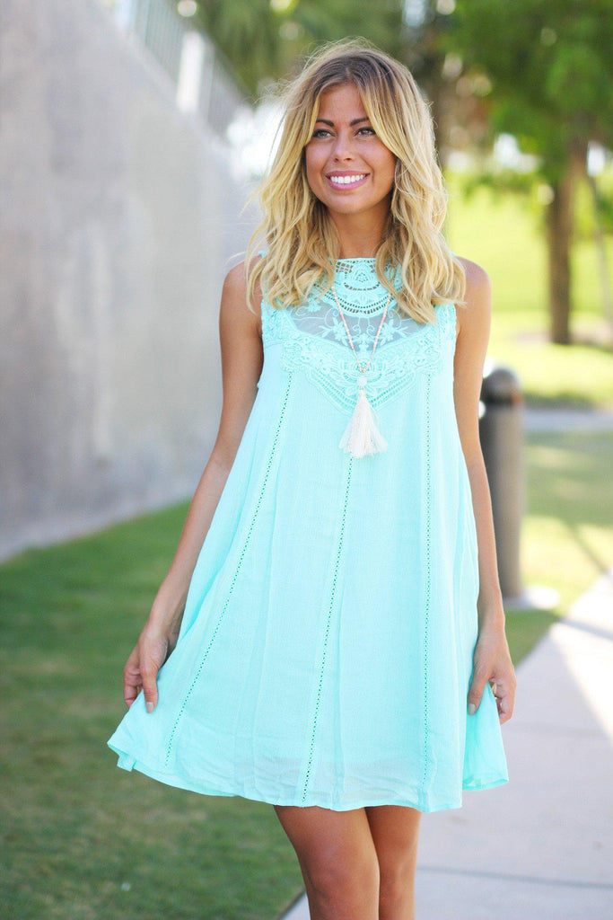 Mint Lace Short Dress