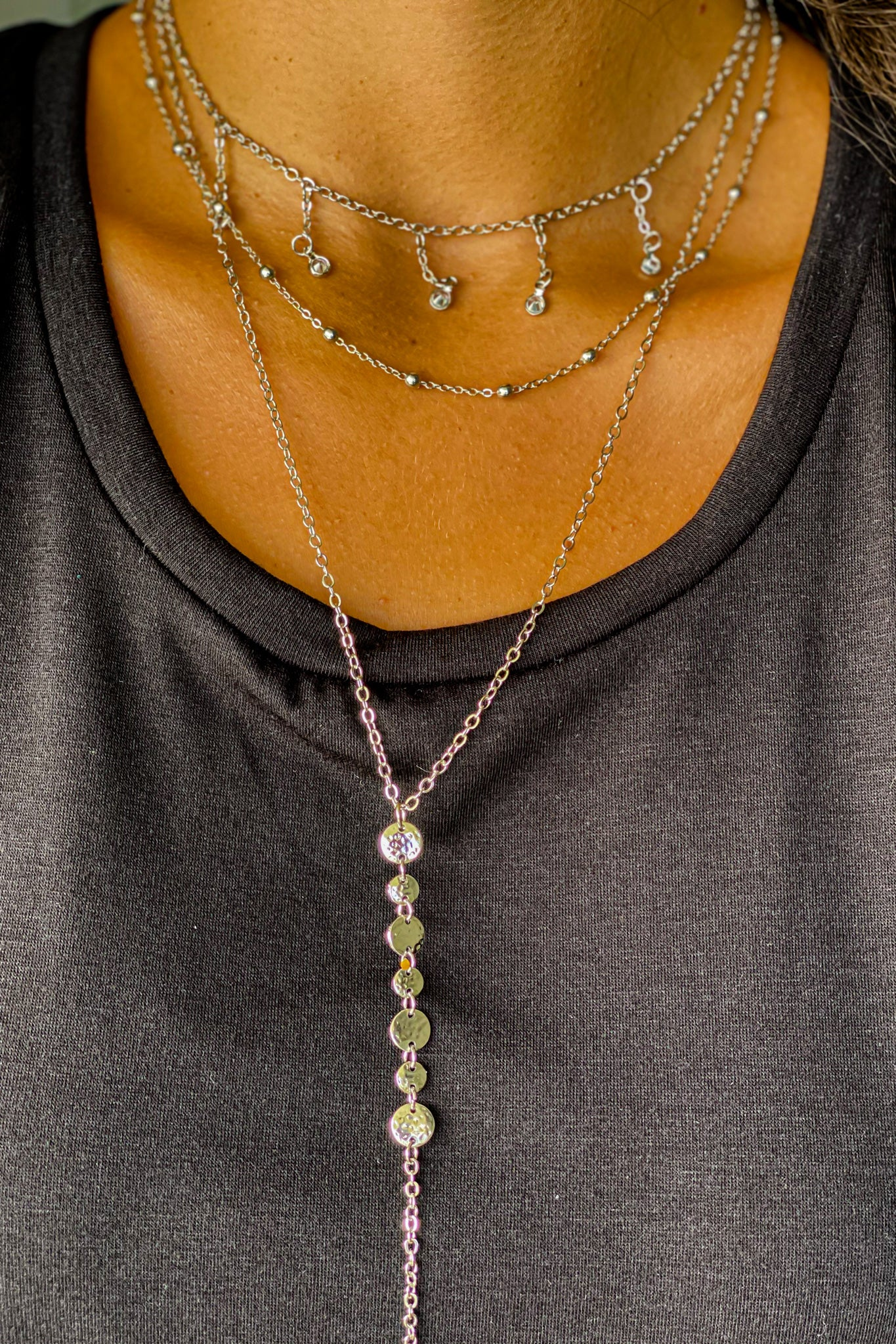 silver layered beautiful necklace