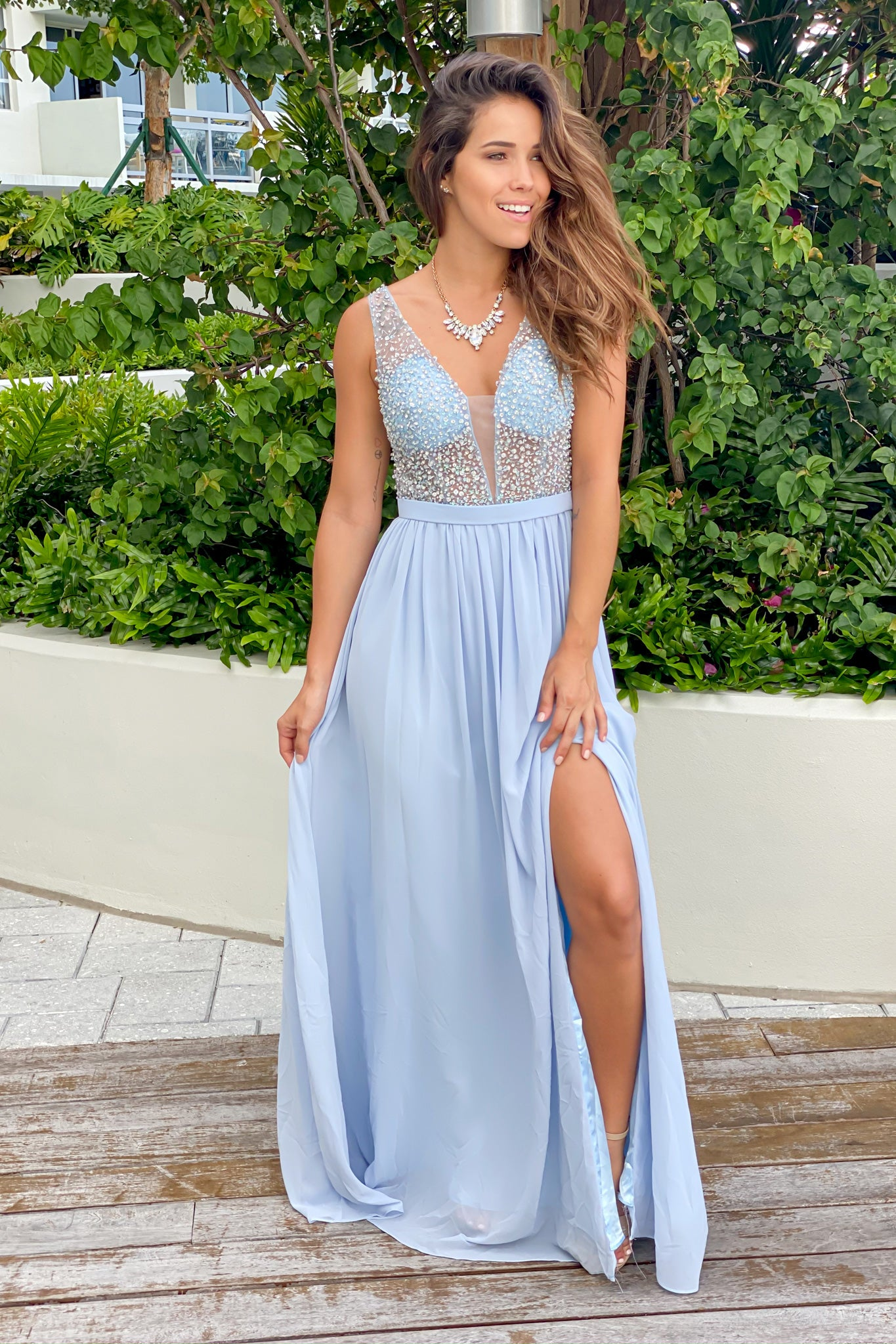 sky blue sequin bridesmaid dress