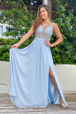 Sky blue sequin maxi dress with mesh back