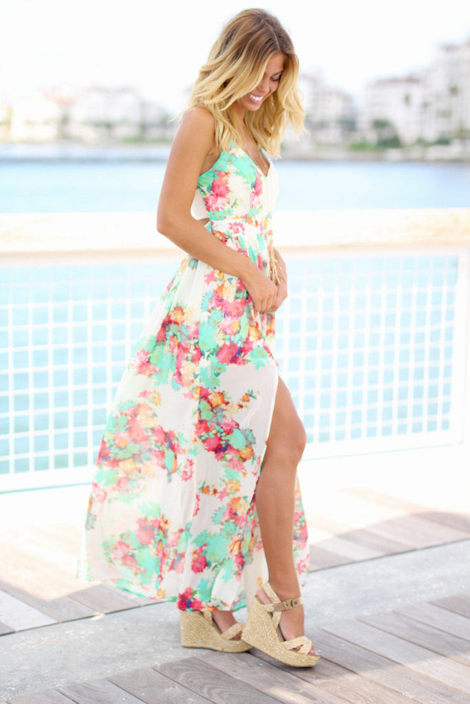 ivory maxi dress with floral print