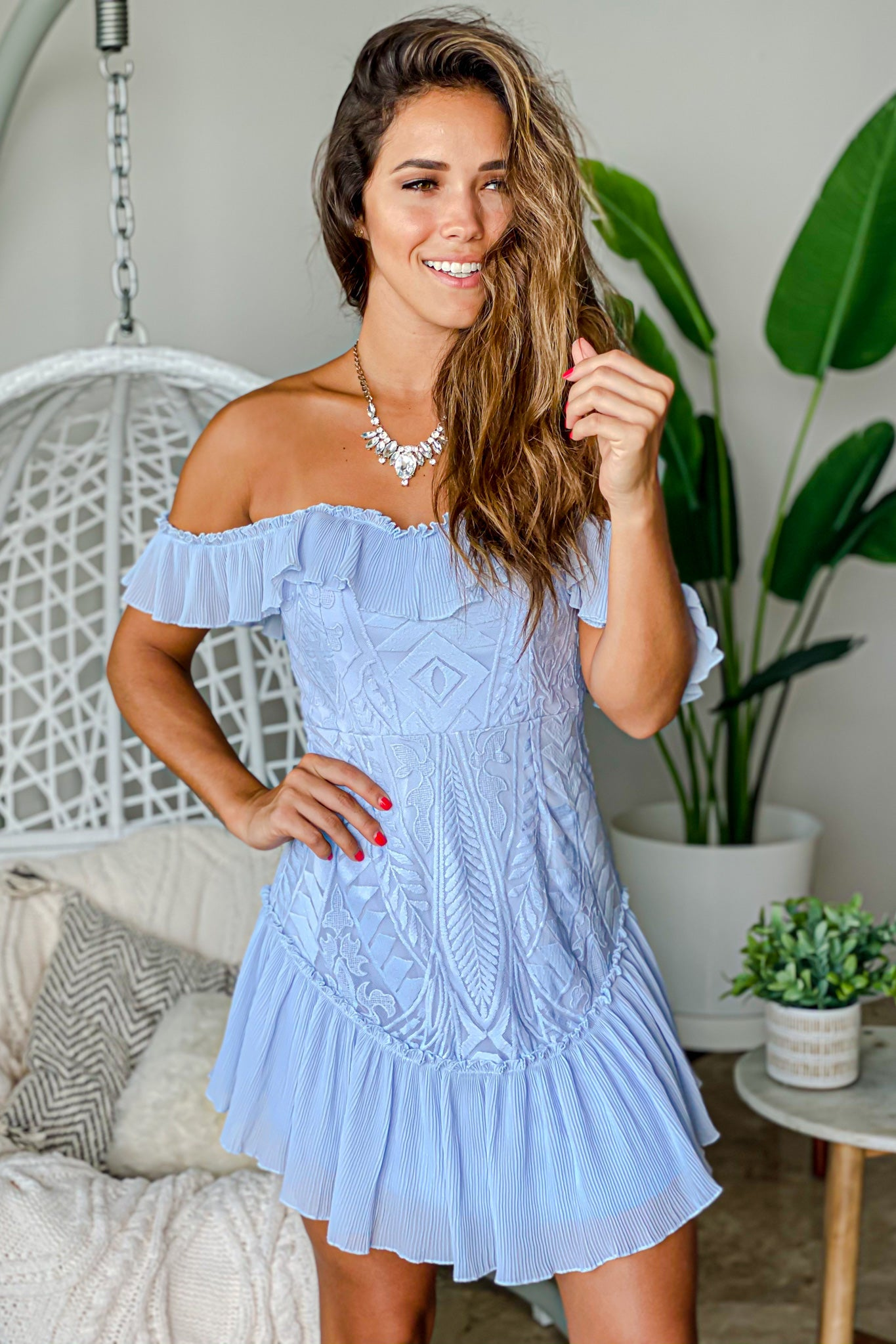 steel blue off shoulder short dress