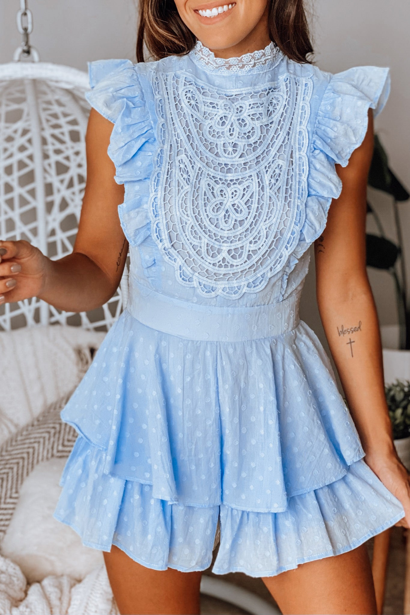steel blue crochet romper