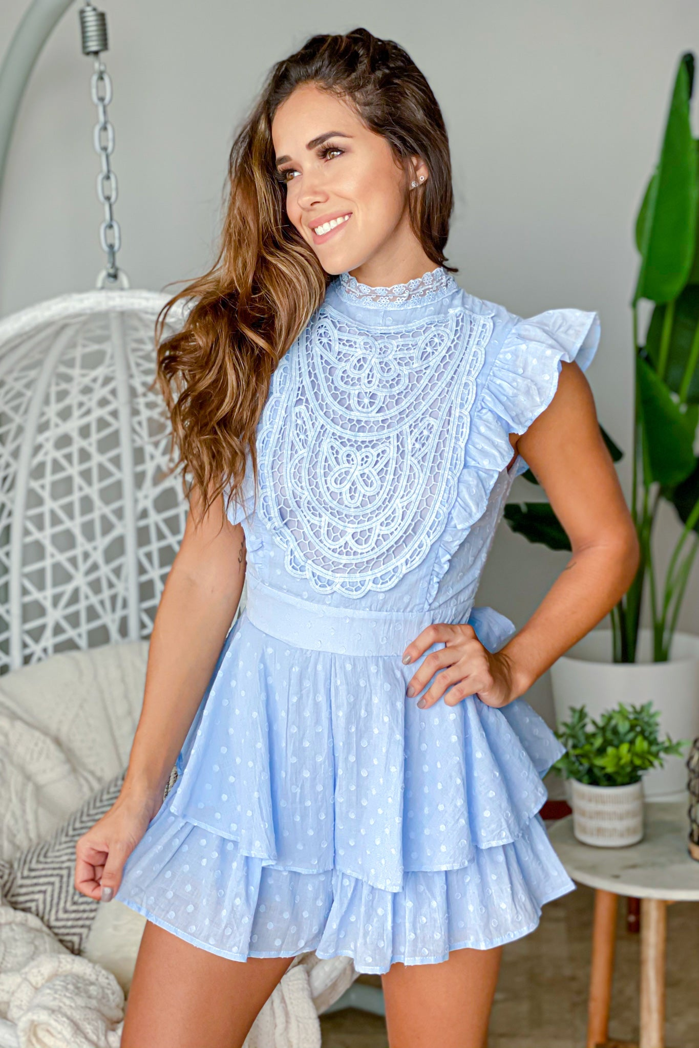 steel blue ruffled romper