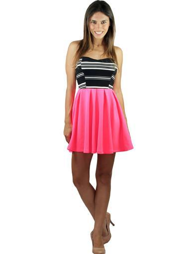 Strapless neon pink short dress - front view