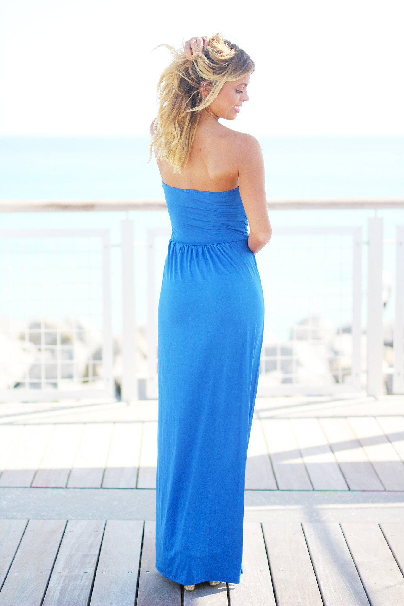 Strapless Royal Blue Maxi Dress with Pockets