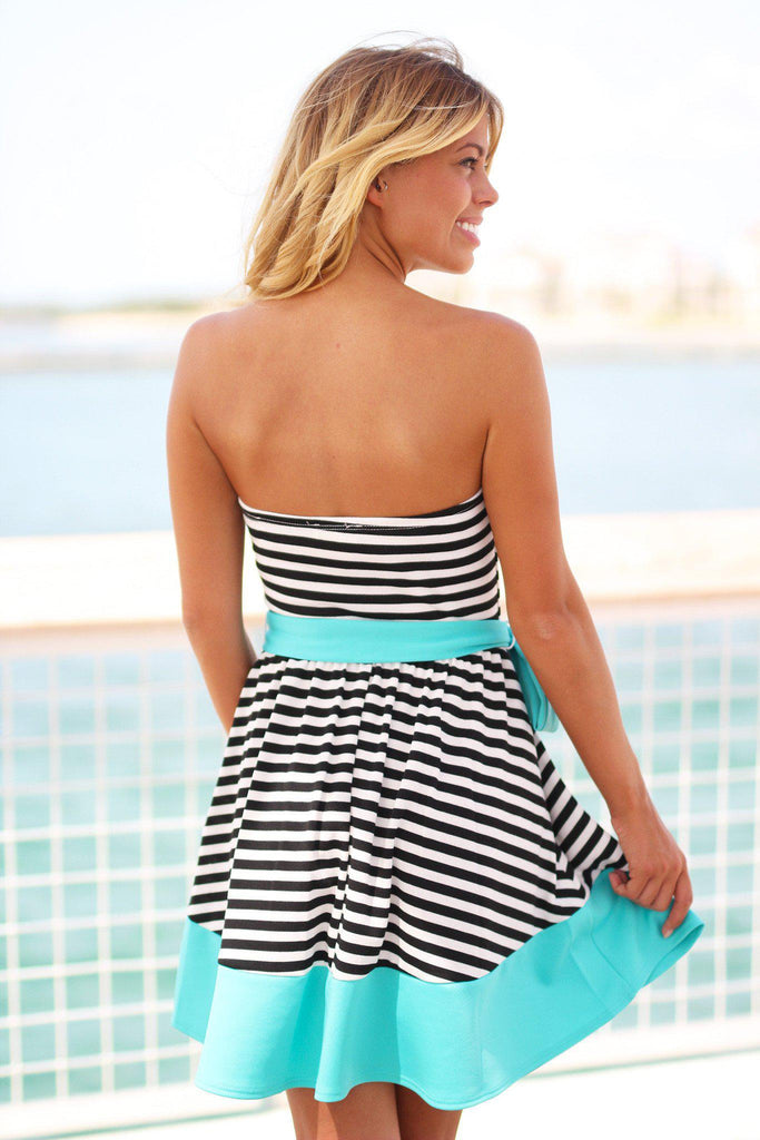 black and mint strapless short dress