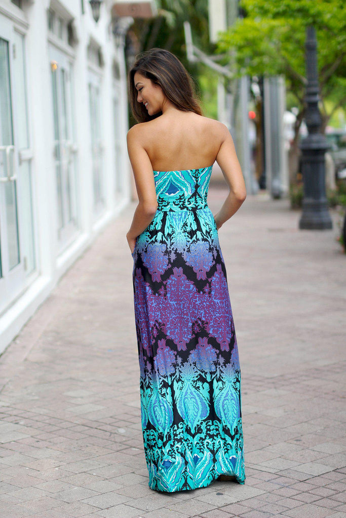 aqua and purple maxi dress