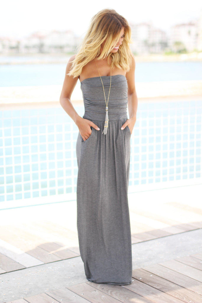 strapless charcoal maxi dress with pockets