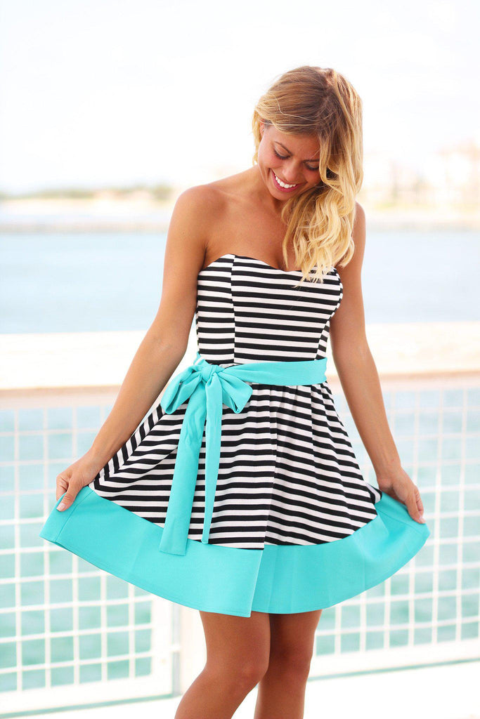 striped dress with mint belt