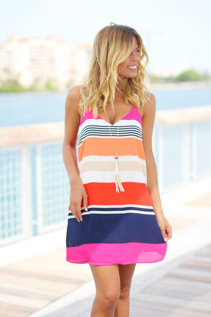 striped print tank short dress