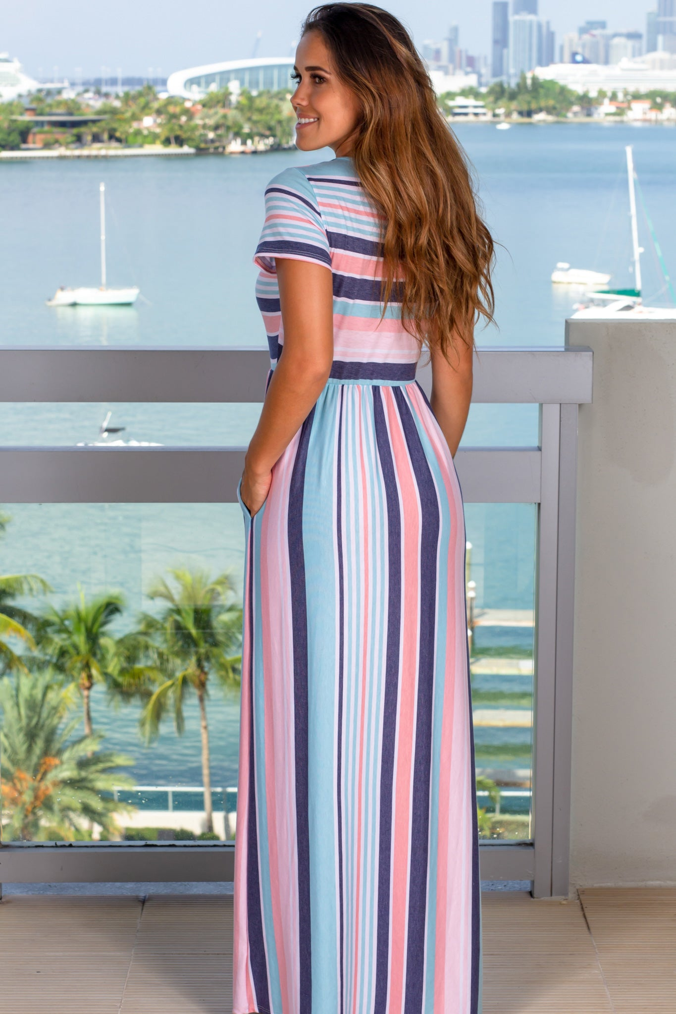 striped cute maxi dress