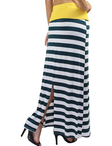 Striped green and gold maxi skirt - back view