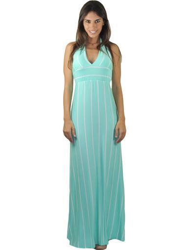 Mint Striped Halter Maxi Dress