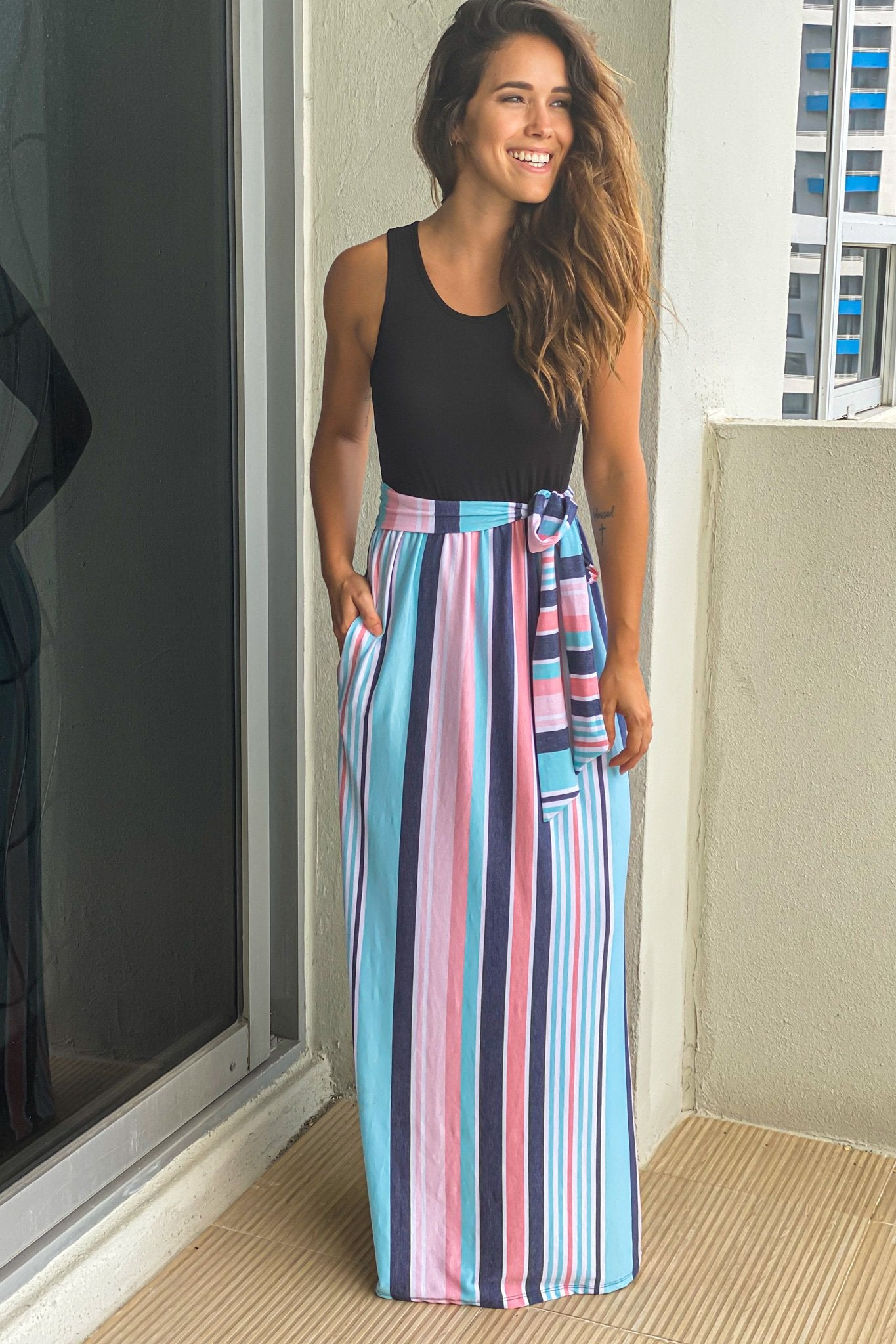 striped vacation maxi dress