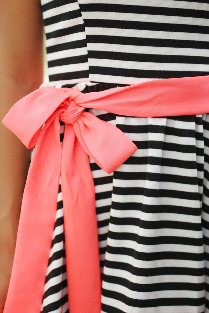 striped short dress with tie belt