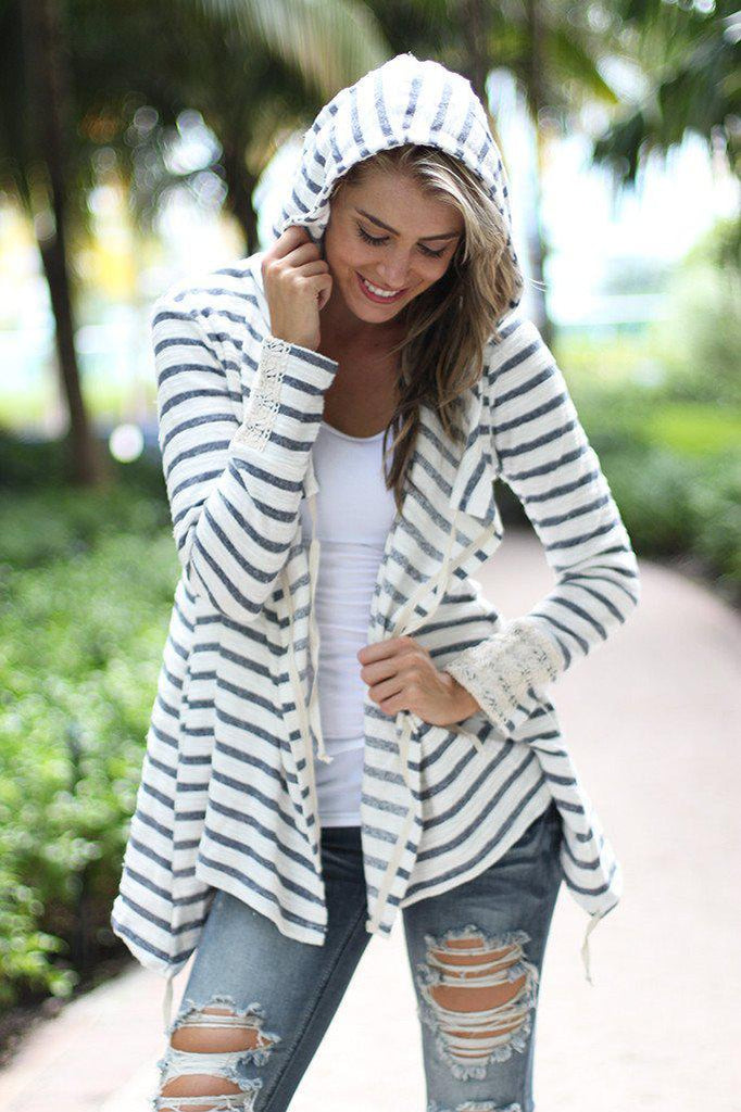 Striped Hooded Cardigan With Crochet Detail