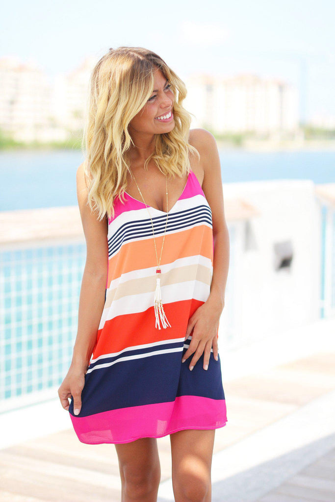 striped print short dress