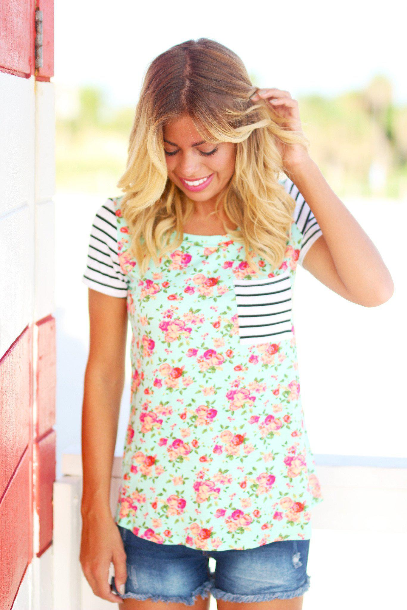 Mint Floral Top with Pocket