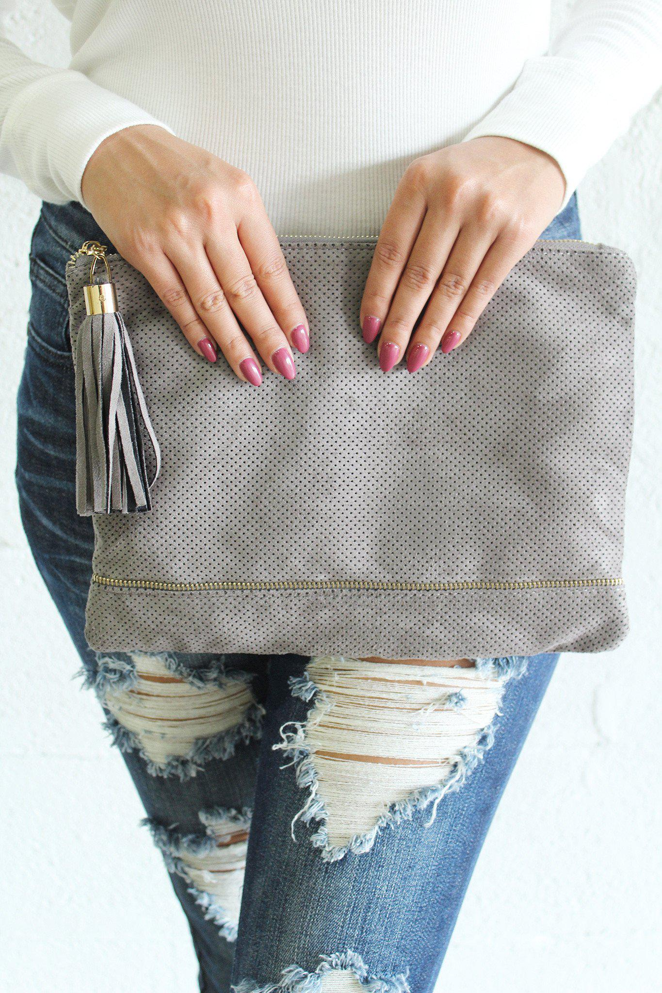 Gray Perforated Clutch