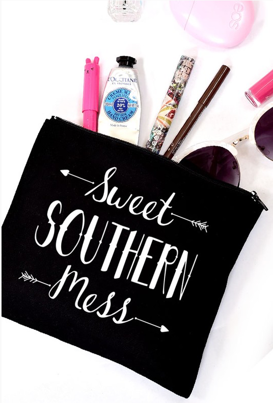 "Black ""Sweet Southern Mess"" Makeup Bag"