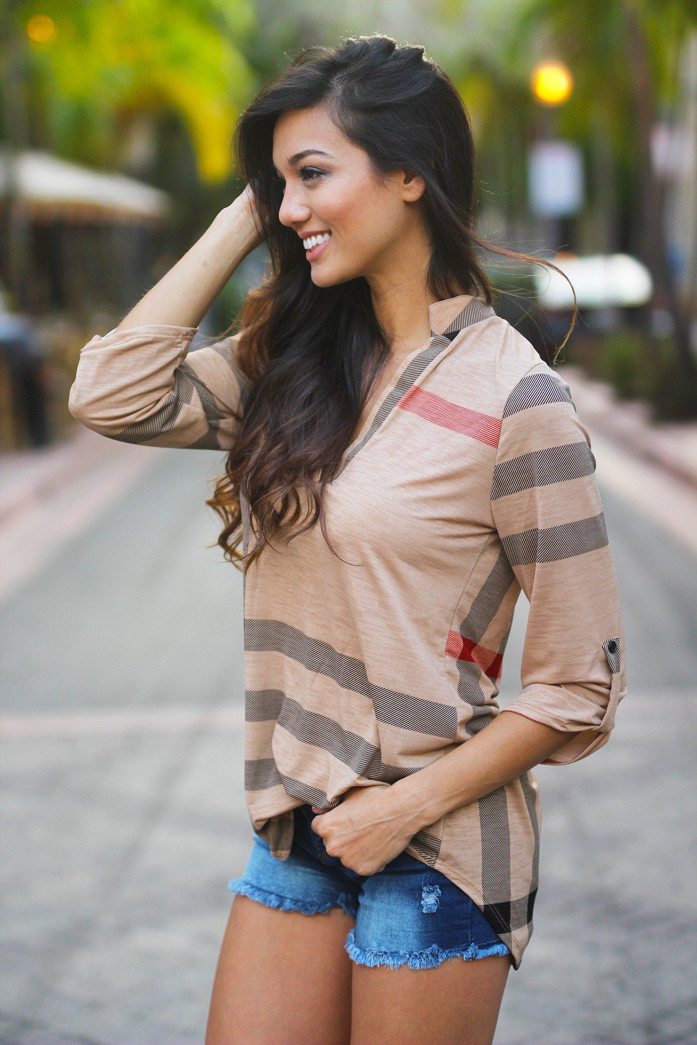 Mocha Plaid Top