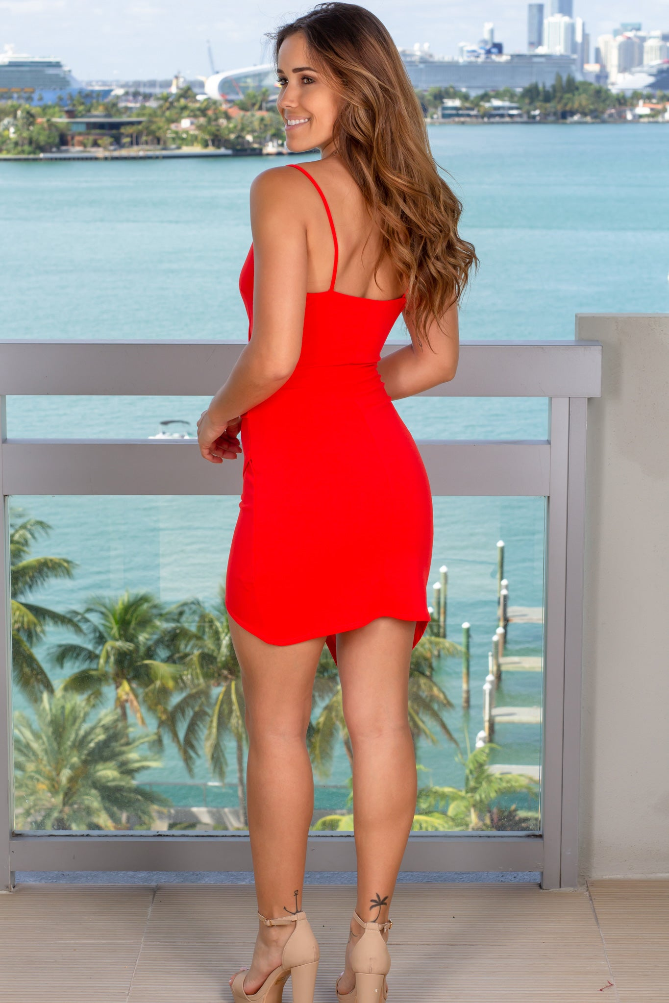 tangerine cocktail short dress