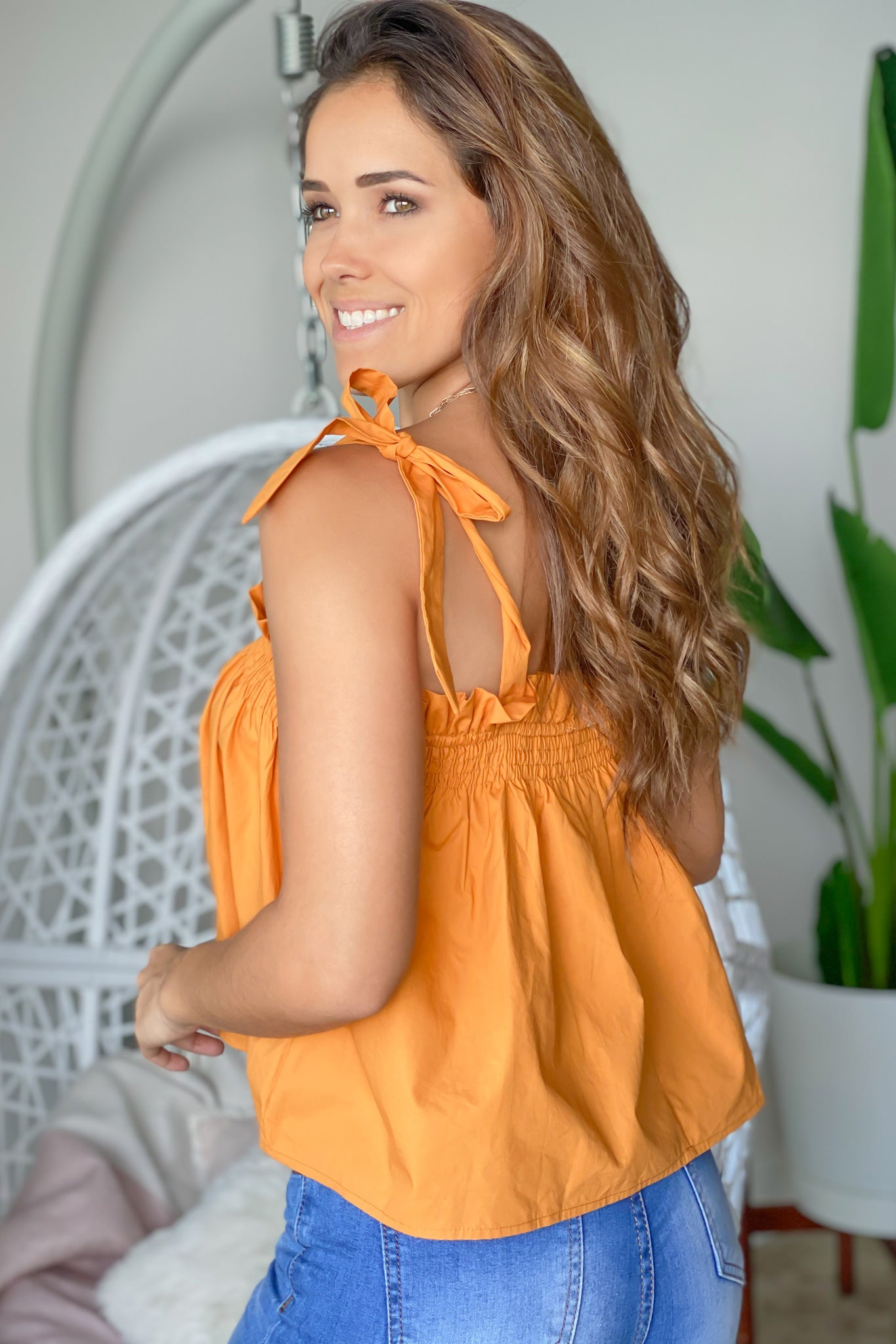 tangerine top with straps