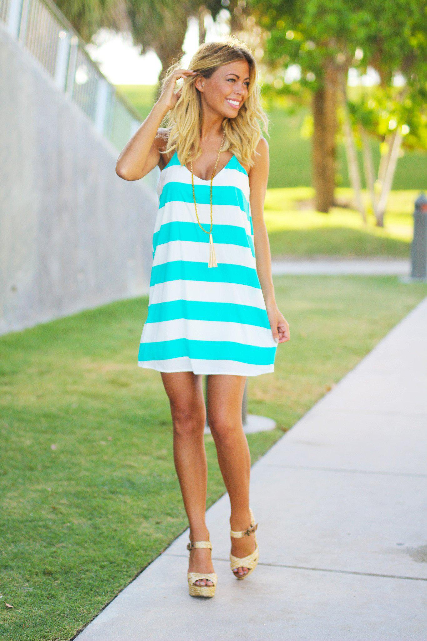 Jade Color Block Tank Short Dress