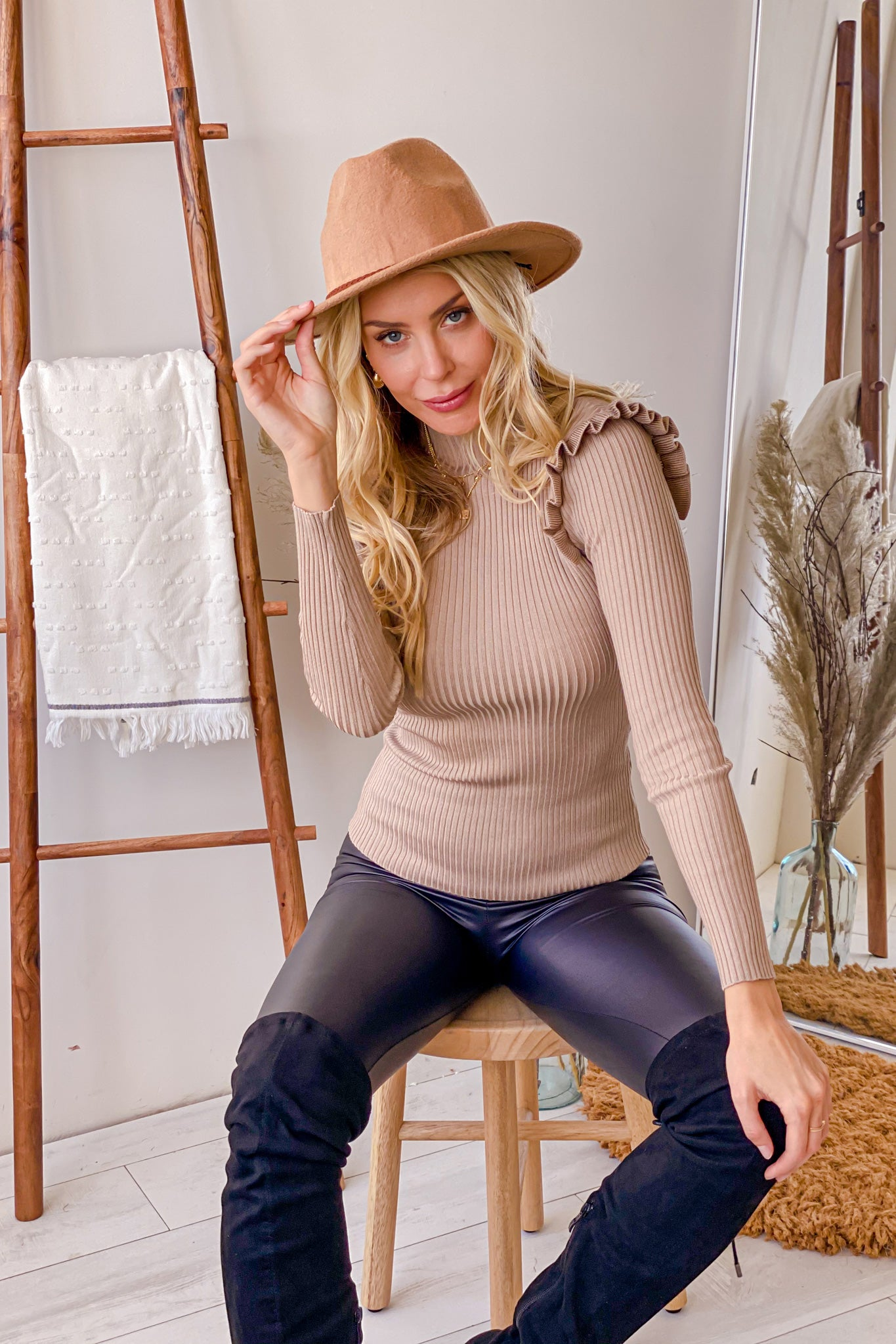 taupe casual top