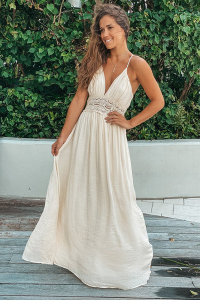 Taupe Maxi Dress With Crochet Trim And Lining