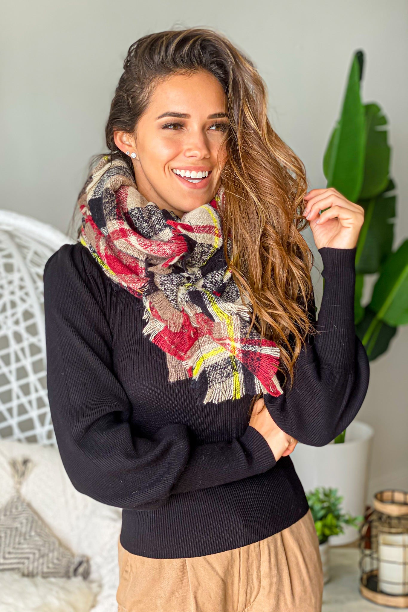 taupe plaid boutique scarf