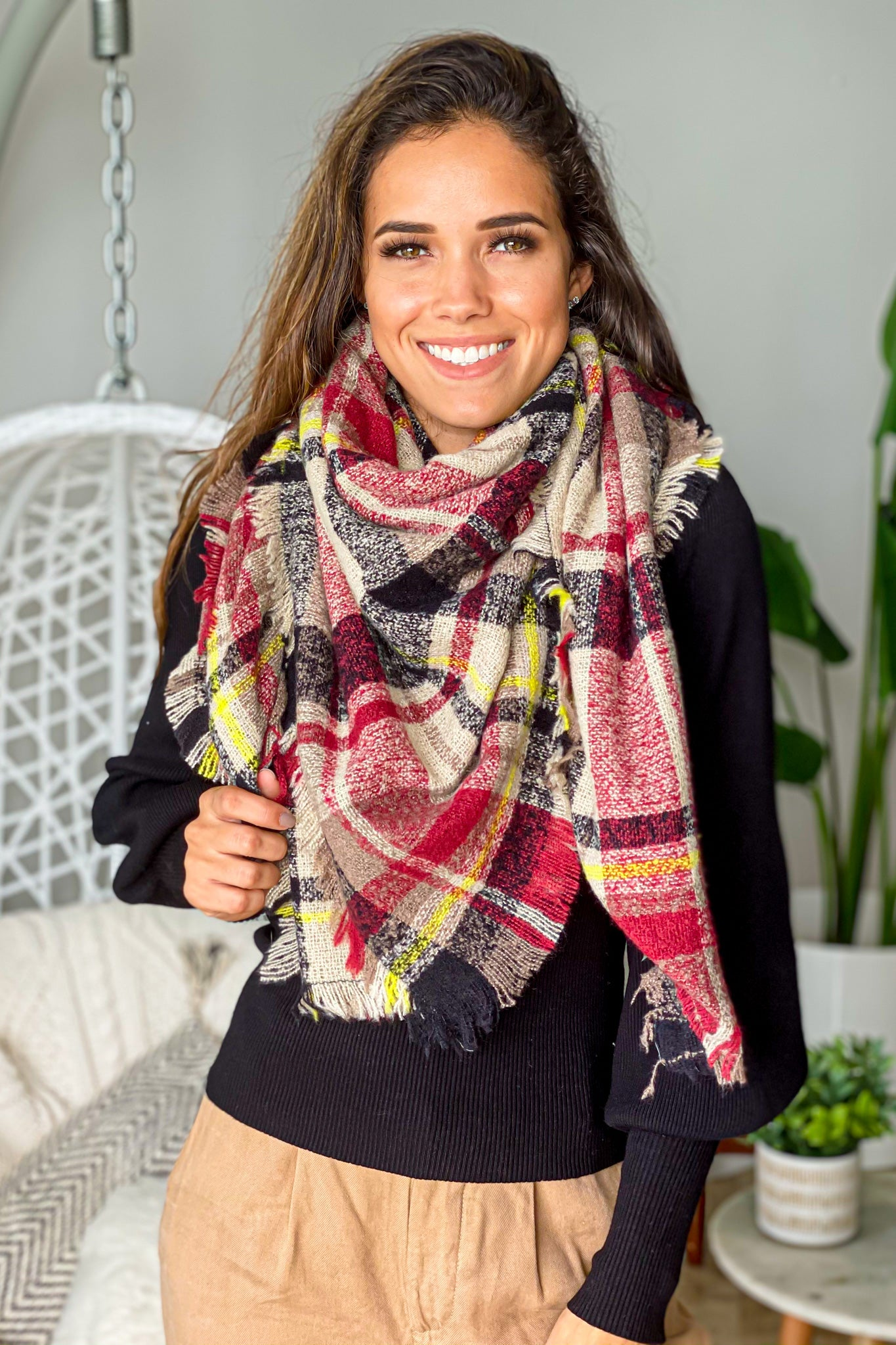 taupe plaid casual scarf