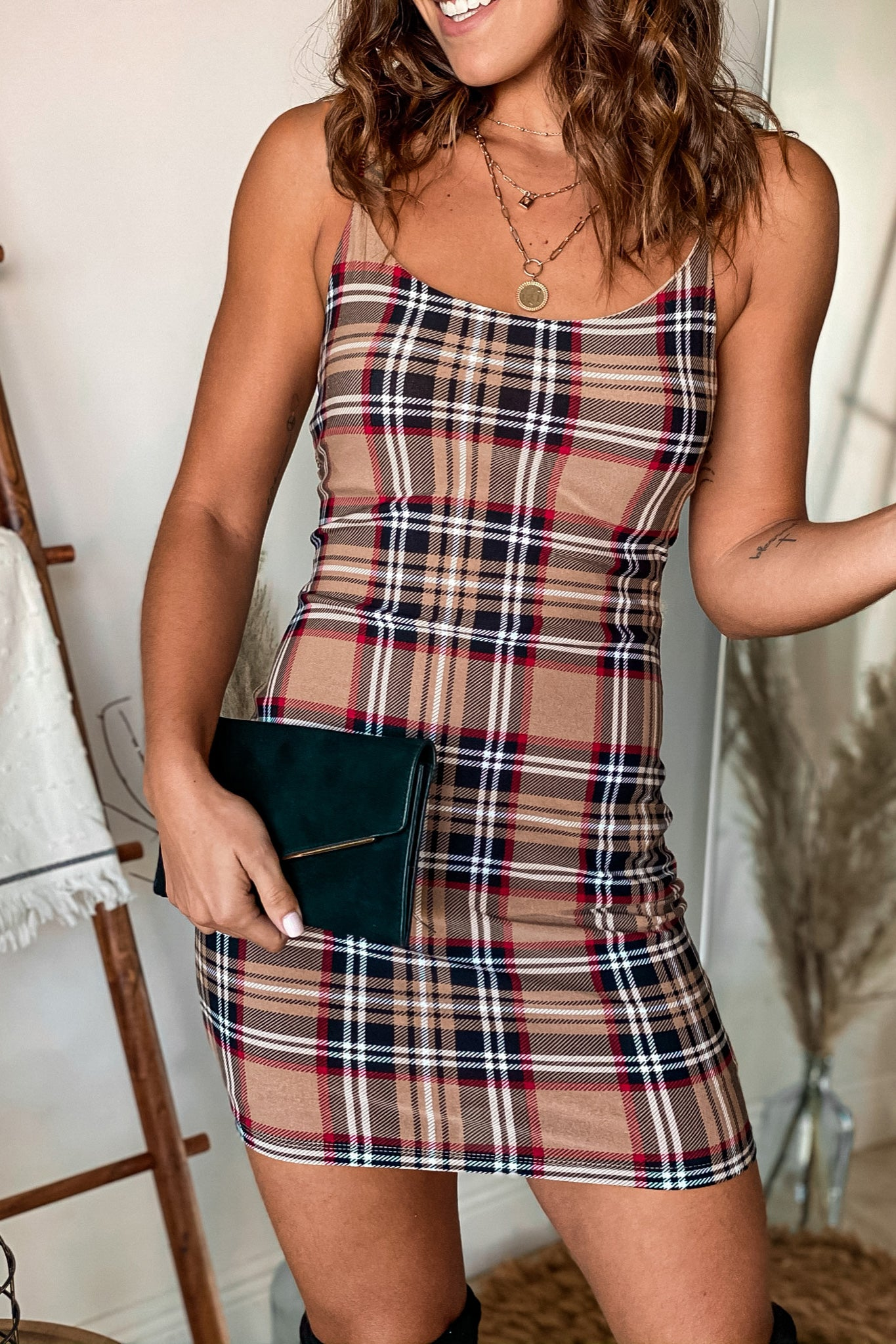 taupe plaid short dress