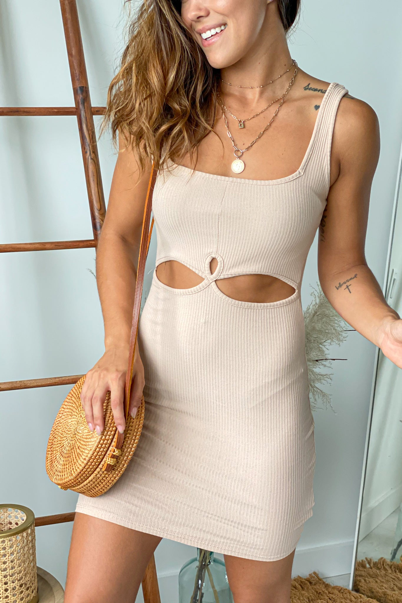 taupe ribbed short dress with cut outs