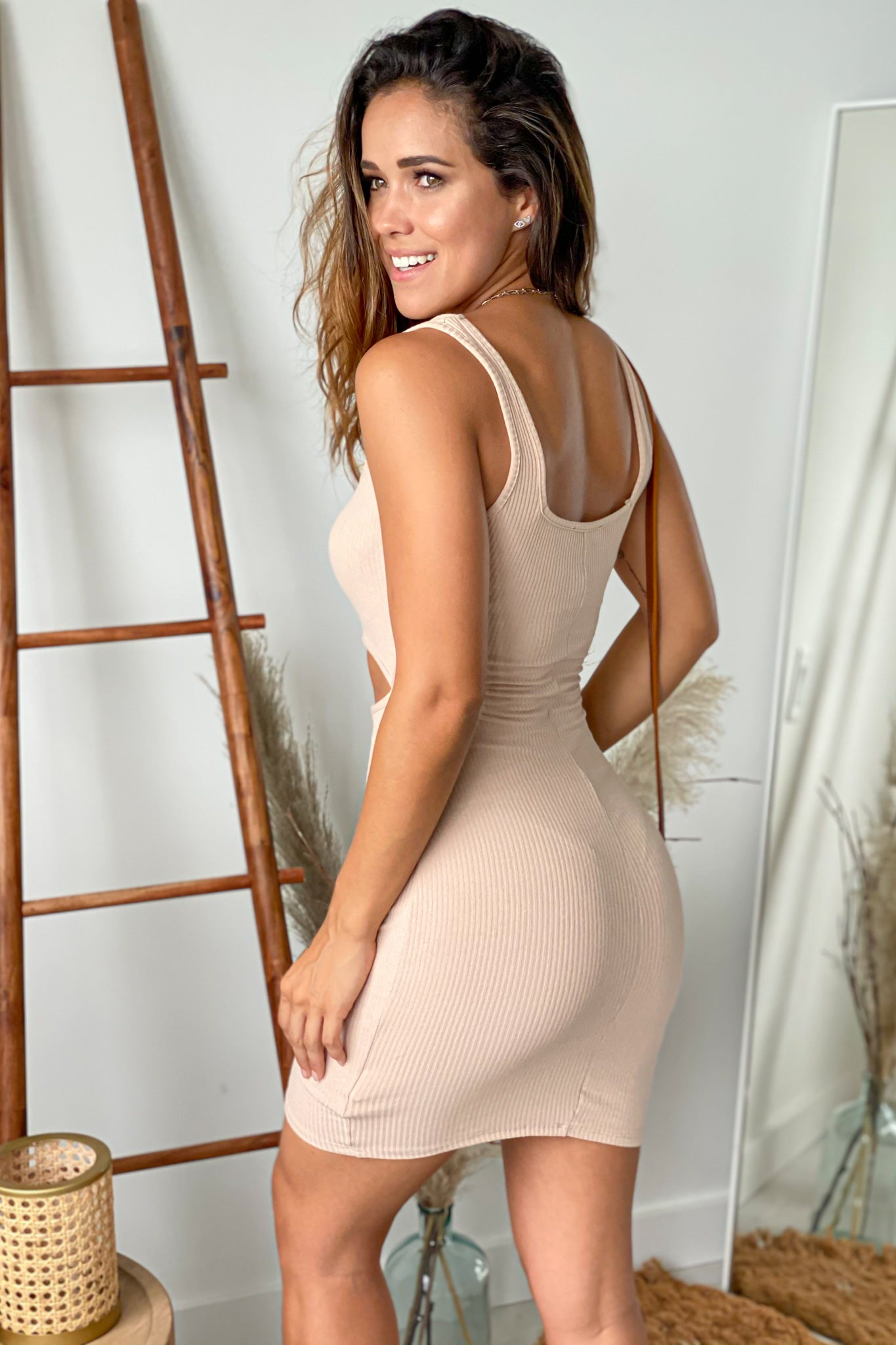 taupe ribbed short dress