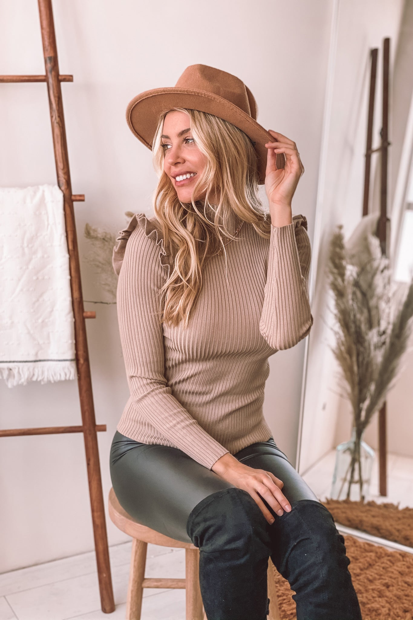 taupe ribbed top with shoulder ruffle detail