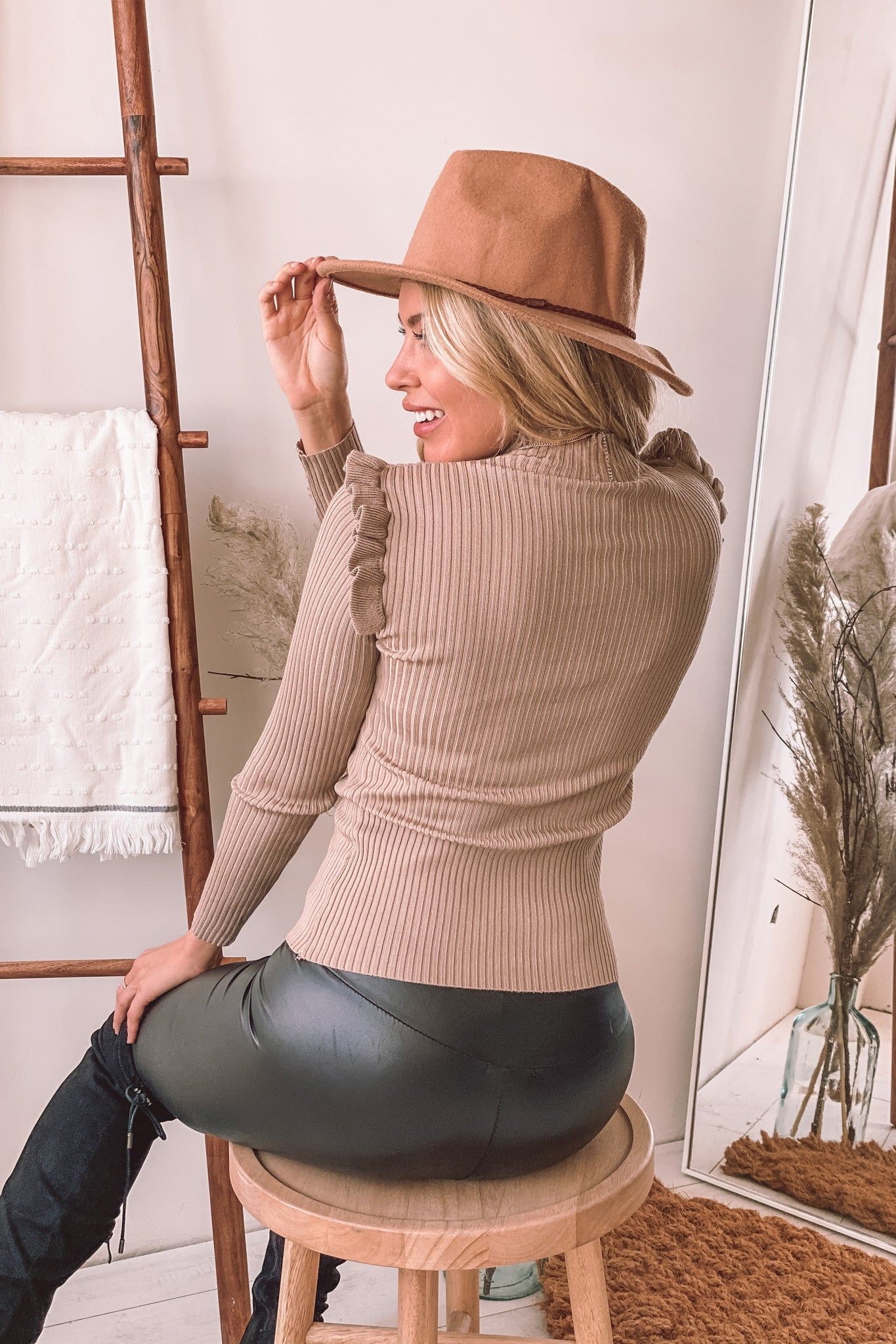 taupe ribbed top