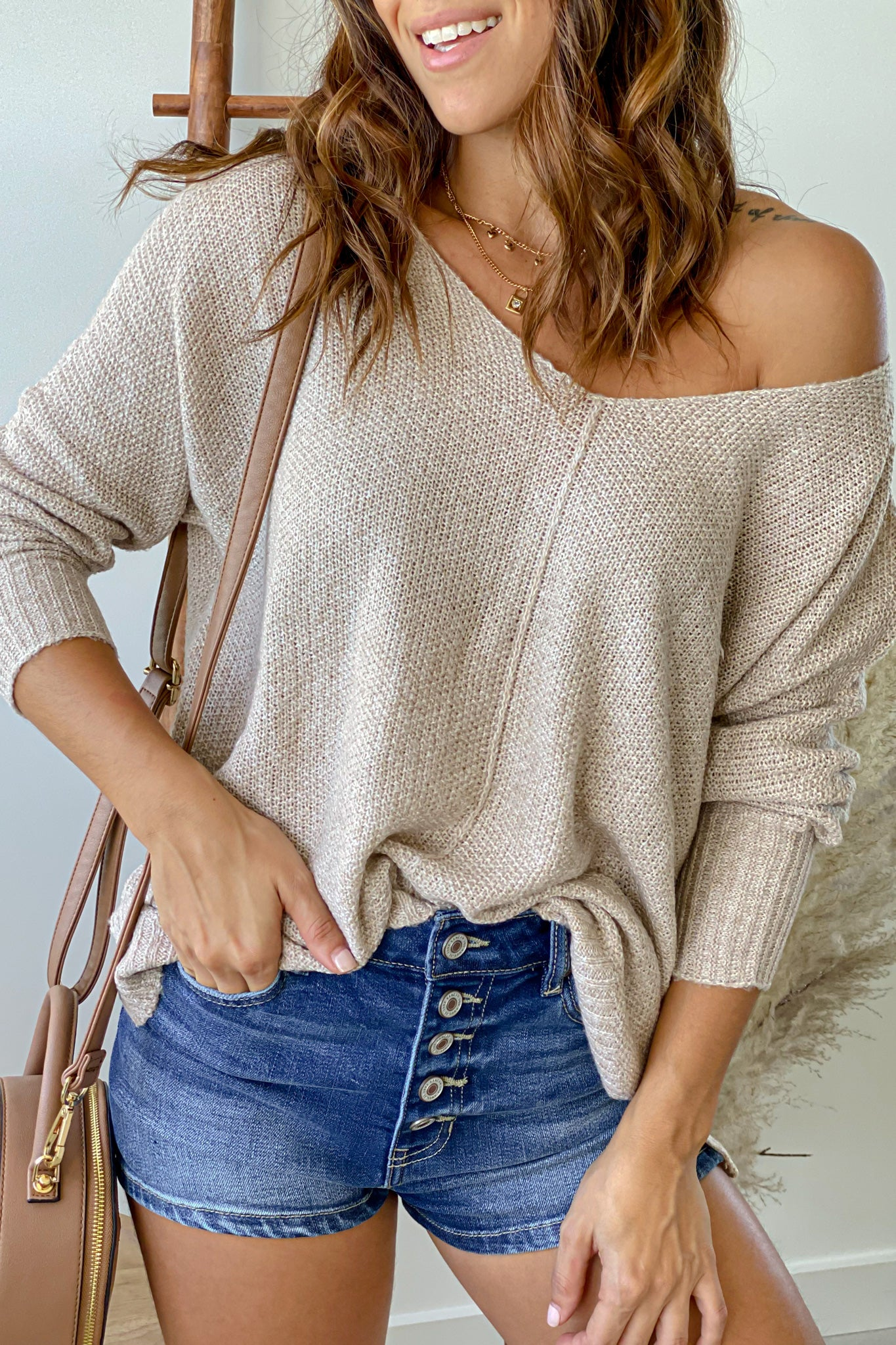 taupe v-neck knit sweater