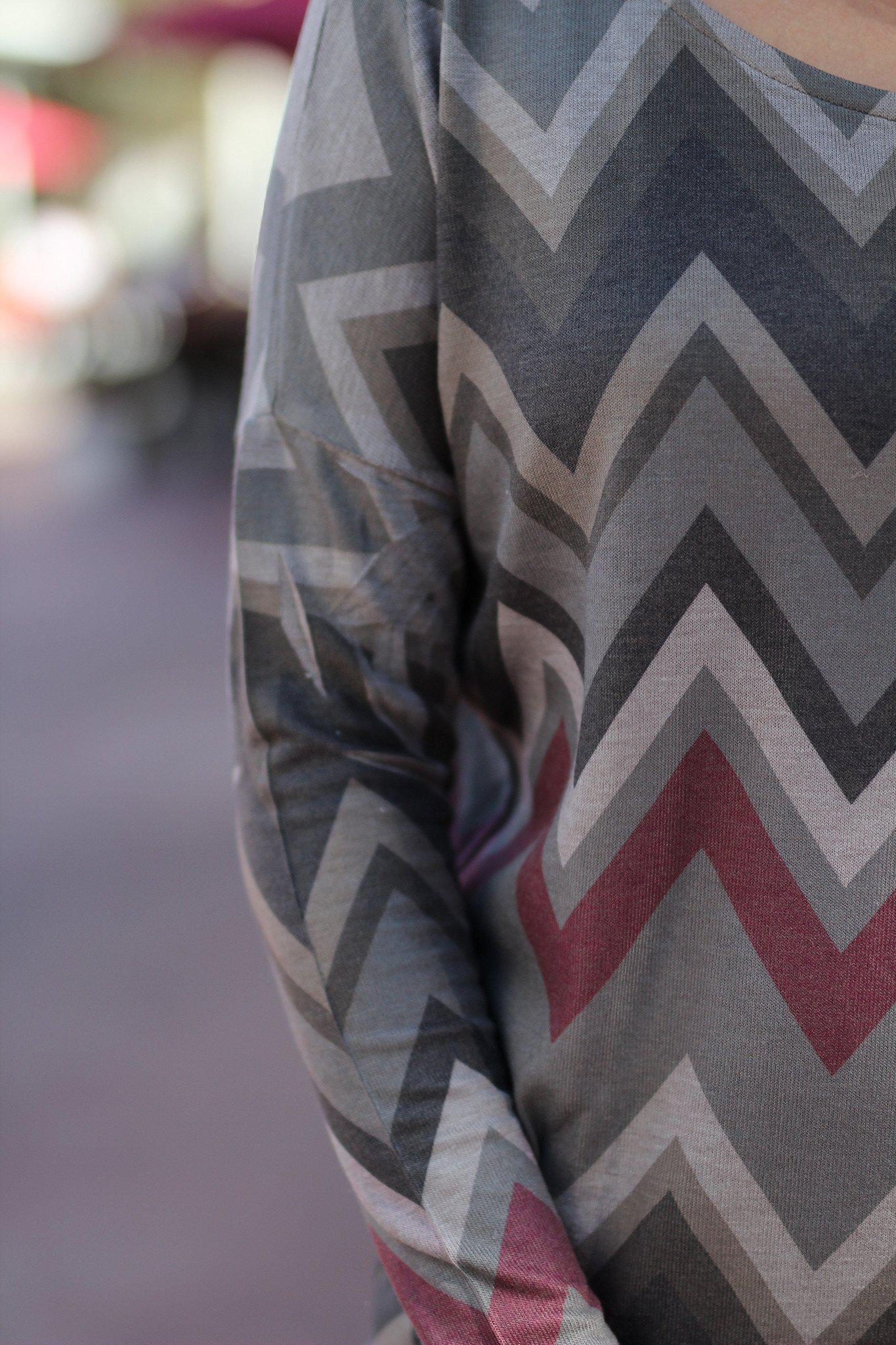 Taupe Chevron Top