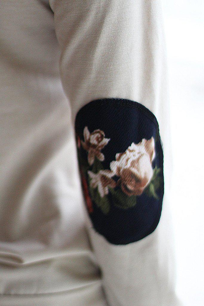 Taupe And Navy Floral Sweater with Pocket